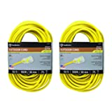 ( 25890002 2589SW0002 Outdoor Cord-12/3 American Made SJTW Heavy Duty 3 Prong Extension Cord, Water Resistant Vinyl Jacket, for Commercial Use and Major Appliances, Foot, 100 Feet, Yellow 2 Pack (Color: 2 PACK, Tamaño: 2 PACK)