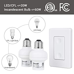 ETL Listed Wireless Light Switch and Receiver Set White 1 Wall Mounted Switch and 2 Bulb Base No Wiring Required DEWENWILS Remote Control Light Socket Expandable