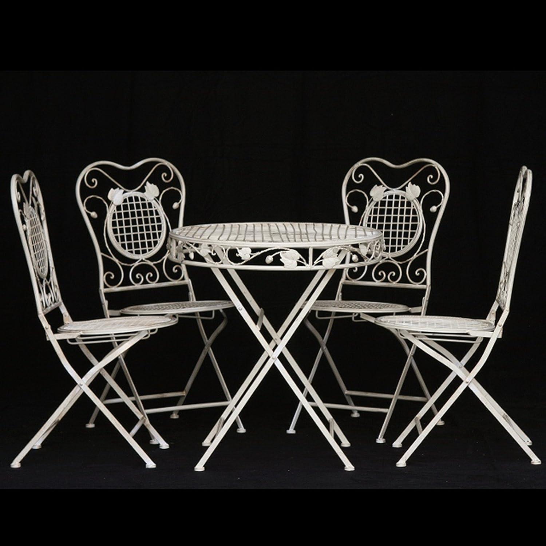 Balkontisch Gartengarnitur Set 4 Stühle Gartenmöbel Metall 1 runder Gartentisch