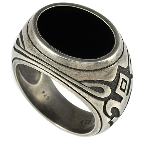 Cai Men Oxidised Sterling Silver Patterned Black Onyx Ring