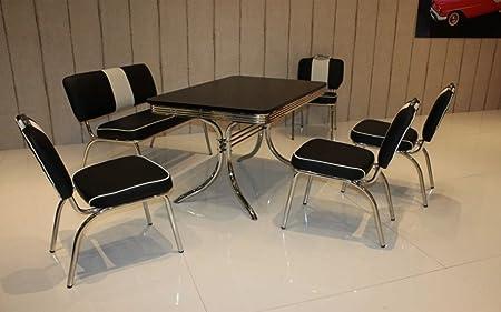 Essgruppe Retro mit Sitzbank und Stuhlen Schwarz/Weiss