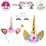 DaisyFormals Unicorn Cake Topper & Unicorn Headband for Unicorn Party Supplies (Color: 1 Gold Unicorn + 1 Unicorn Cake Topper, Tamaño: 10.2