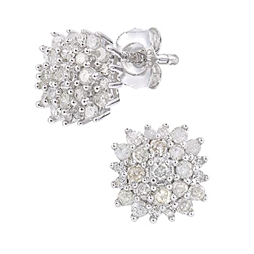 Naava 9ct White Gold 0.40ct Diamond Cluster Earrings