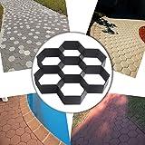 COM4SPORT DIY Patio Walk Maker Stepping Stone Concrete Paver Mold Reusable Path Maker Mold Garden Paving Stone Molds 11.4x11.4 Inch (Hexagon) (Color: Black, Tamaño: 29*29*4 cm)