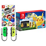 Nintendo Switch Pokemon and Mario Bundle: Nintendo Switch Pokemon Let's Go Pikachu Edition Bundle, Super Mario Party with Extra Neon Green and Yellow Joy-Con