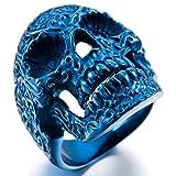 INBLUE Men's Stainless Steel Ring Blue Skull Flower Size9 (Color: blue)
