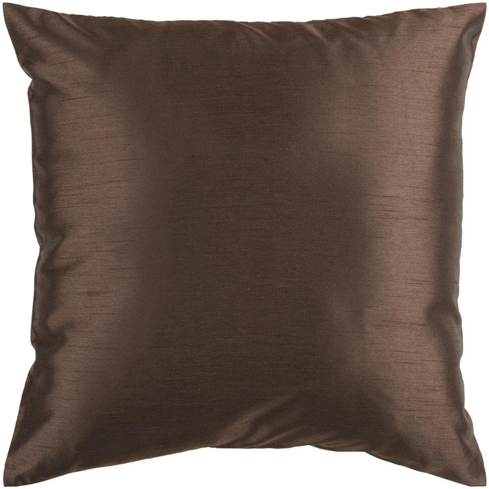 Surya HH-040 Hand Crafted 100% Polyester Brown 22 x 22 Solid Decorative Pillow