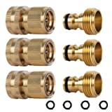 HQMPC Garden Hose Quick Connect Solid Brass Quick Connector Garden Hose Fitting Water Hose Connectors 3/4 inch GHT (3 Sets) (Tamaño: 3 Male and 3 Female)