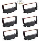 ERC30BR Epson Ribbon Cartridge ERC34BR ERC38BR Black Red Compatible to M52 JB TM 200 TM 260 TMU 220 Pack of 6 (Color: Black and Red)