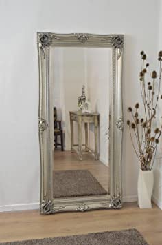 Large Silver Ornate Antique Shabby Chic Wall Mirror 6Ft X 3Ft, 178cm X 87cm