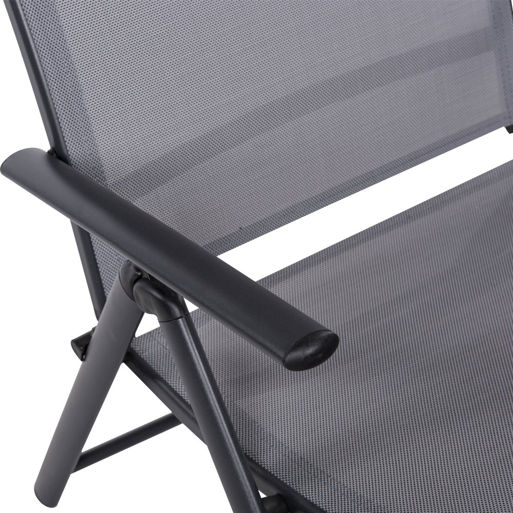 Sundale Outdoor Deluxe Aluminum Beach Yard Pool Folding Chaise Lounge Chair Recliner Outdoor Patio, Grey