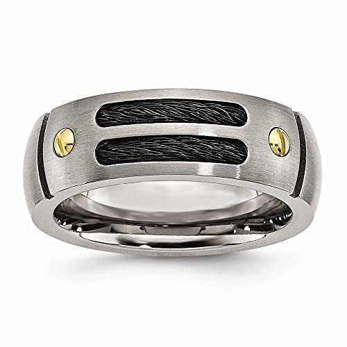 Men's Titanium Grooved Black & Yellow IP-plated Brushed Wedding Band Ring