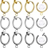 30 Sets Clip-on Earring Converters Non-Pierced Earring Findings Dangle Earring Clips with Easy Open Loop and Silicone Earring Pads for Daily Accessory, 3 Colors (Style B) (Color: Style B)