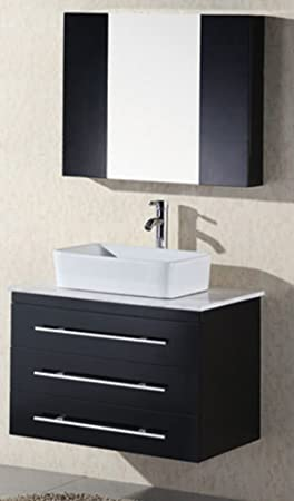 Design Element Elton Wall-Mount Single Vessel Sink Vanity with Carrera White Marble Countertop, 30-Inch