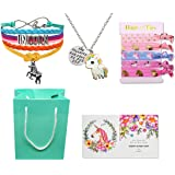 Unicorn Gifts for Girls - Unicorn Goodie Bag, Rainbow Bracelet/Hair Ties/Unicorn Necklace/Gift Card/Gift Bag (Color: Style 1: She believed she could so she did)