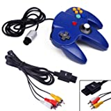 HDE Wired Controller and AV Cable for Nintendo 64 Console Replacement RCA Composite Video Cable and Controller for N64 Game Console