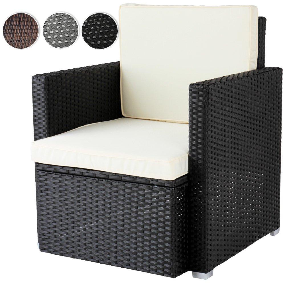 Bequemer Loungesessel aus Polyrattan Gartenmöbel inkl. Sitzkissen -Farbwahl- Gartensessel günstig online kaufen