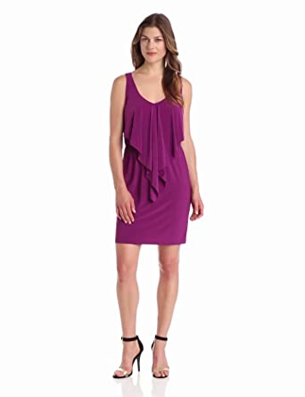 Tiana B Women's Solid Dress with Ruffle Front, Magenta, Large