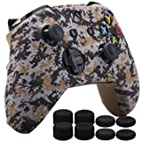 MXRC Silicone Rubber Cover Skin Case Anti-Slip Water Transfer Customize Digital Camouflage for Xbox One/S/X Controller x 1 Brown+ FPS PRO Extra Height Thumb Grips x 8 (Color: brown, Tamaño: Xbox One digital camouflage)