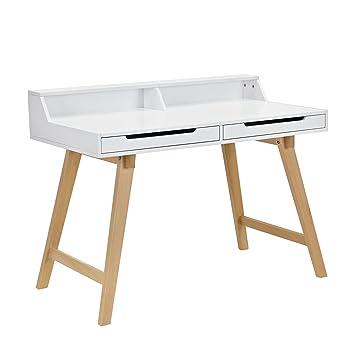 [en.casa] bureau rétro (85x110x60cm) blanc mat laqué avec des tiroirs
