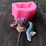Mermaid Soap Mold,Runloo 3D Mermaid Silicone Cake Handmade Soap Candle Mould Silicone for Mermaid (3#) (Color: 3#)