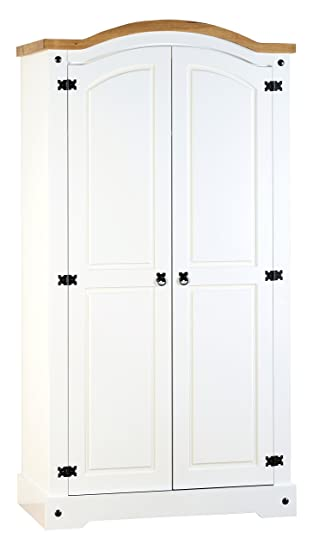 Seconique Corona 2 Door Wardrobe - White/Distressed Waxed Pine