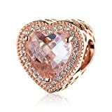ATHENAIE 925 Sterling Silver Rose Gold Pave Clear CZ Radiant Hearts Bead Charm for Bracelet (Color: Rose Gold)