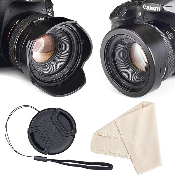 52mm Reversible Tulip Flower Lens Hood Set, Unique Design Camera Lens Hood for Canon Nikon Sony DSLR + Center Pinch Lens Cap with Cap Keeper Leash + Microfiber Cleaning Cloth (Tamaño: 52 mm)
