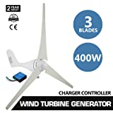400W 12V 3 Blade Wind Turbine Generator 20A with Charger Environmental Controller PBT Leaf (Color: White, Tamaño: Wheel Diameter 1.20m)