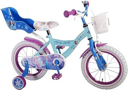 """Vélo pour enfant Disney Frozen-La Reine des Neiges 14""""Vélo fille Frein à rétropédalage Bleu Blanc"""