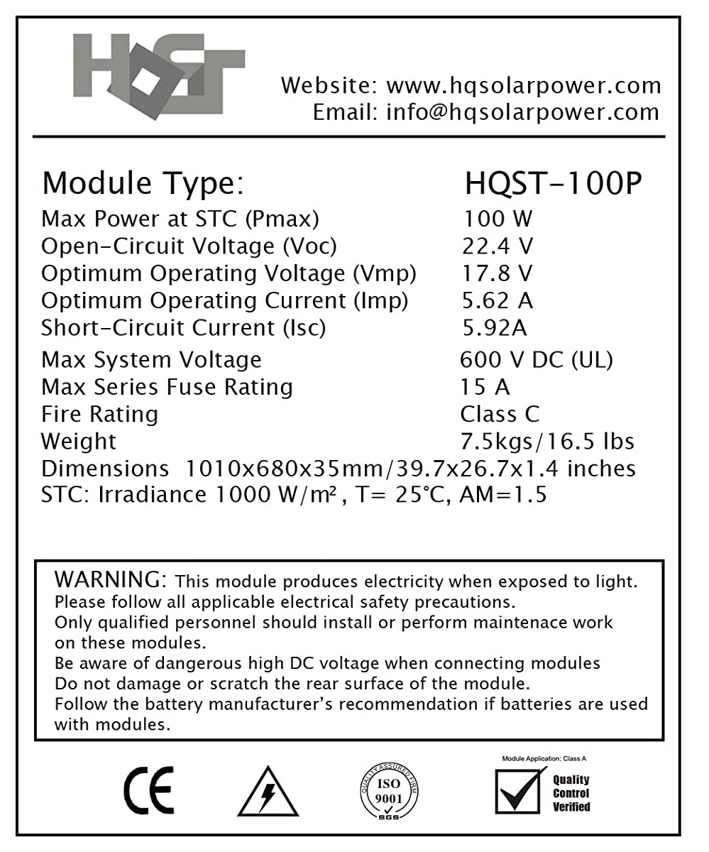 HQST 100 Watt 12 Volt Polycrystalline Solar Panel
