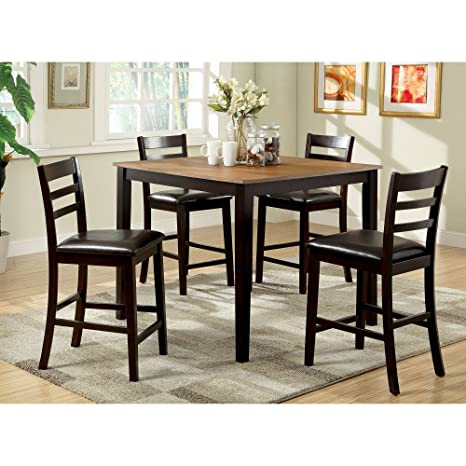 Furniture of America Turnbow 5 Piece Counter Height Dual-Tone Dining Table Set
