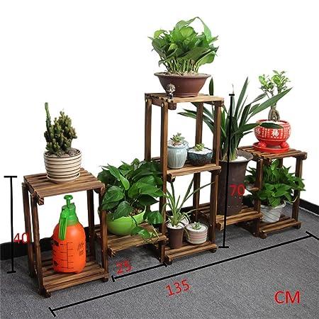 Haushaltsgegenstände Freie Kombination der Blumen-Racks Anti-Korrosion Massivholz Balkon / Wohnzimmer Blumentopf Rack Multifunktions-Montage Blumenregal -CRS-ZBBZ ( Farbe : #5 )
