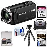 Panasonic HC-V180 HD Video Camera Camcorder with 32GB Card + Case + Flex Tripod + Kit (Color: Black)