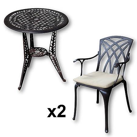 Lazy Susan - IVY Bistrotisch mit 2 Stuhlen - Rundes Gartenmöbel Set aus Metall, Antik Bronze (APRIL Stuhle, Beige Kissen)