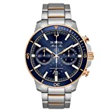 Bulova Men's 45mm Marine Star Two-Tone Stainless Steel Blue Dial Chronograph Bracelet Watch (Color: Silver/Rose Gold/Blue, Tamaño: One Size)