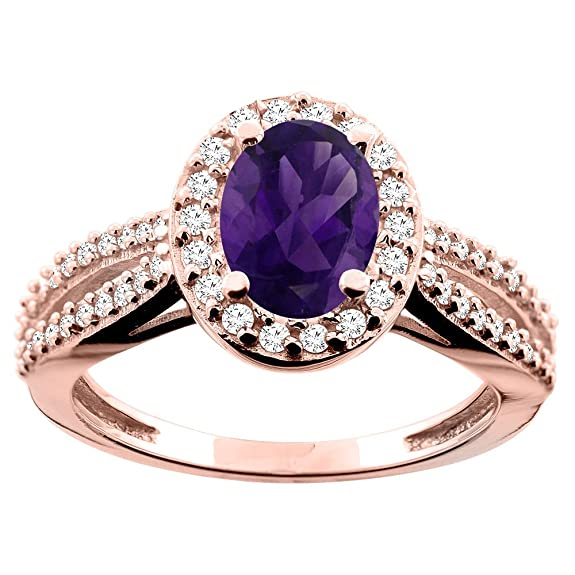 9ct White/Yellow/Rose Gold Natural Amethyst Ring Oval 8x6mm Diamond Accent 7/16 inch wide, sizes J - T