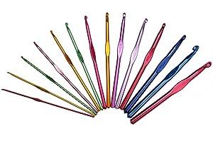 Luxbon 14 Sizes Multi-Coloured Aluminum 2mm-10mm Handle Crochet Hooks Knitting Knit Needles Weave Yarn Set (Color: multi)
