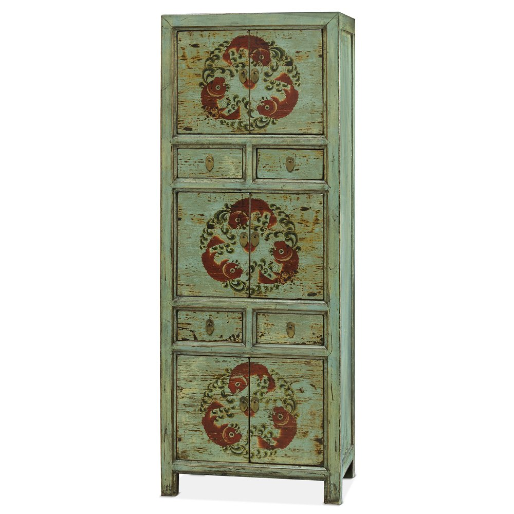 China Furniture Online Armoire, Tibetan Style Tall Cabinet with Koi Fish Motif 0