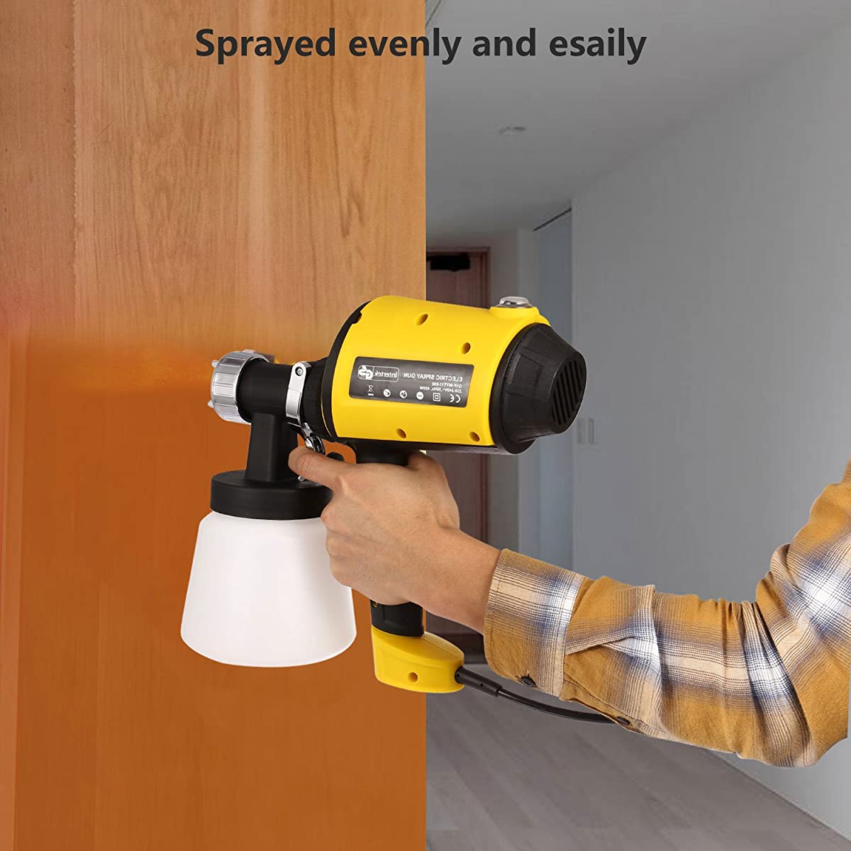 Meditool Advanced Electric Spray Gun Home Paint Sprayer HVLP Sprayer with Three Spray Patterns Three Copper Nozzle Sizes 900ml Detachable Container Volume Regulator 6.5ft Power Line