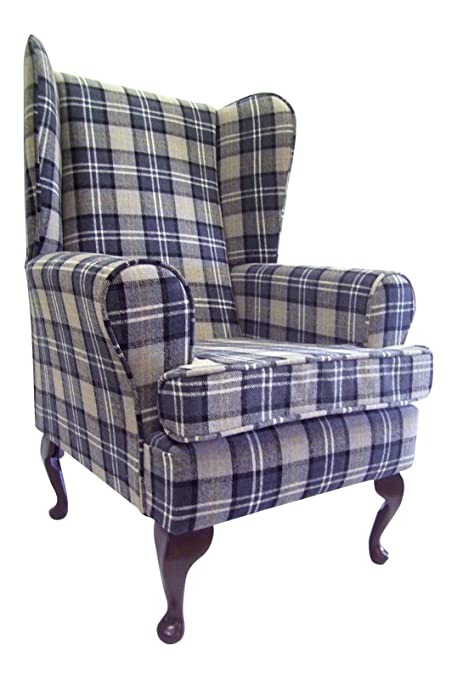 Queen Anne Style Chair In A Black & Grey Tartan Fabric ...wing back fireside high back chair. Ideal bedroom or living room furniture