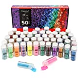 Magicfly 50 Colors Glitter Set with 6 Glow Under UV Black Light Colors, 4 Chunky Glitter with Heart Star Shape, Extra Fine Glitter Shaker Jars for Nails, Face, Slime, Crafts (Tamaño: 50 Colors)