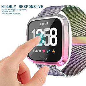 Screen Protector Case for Fitbit Versa, Haojavo Soft TPU Slim Fit Full Cover Screen Protector for Fitbit Versa Smartwatch Bands Accessories (Color: multicolor-a)