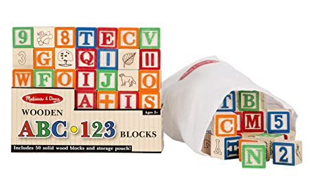 Melissa & Doug Deluxe 50-piece Wooden ABC/123 Blocks Set (colors may