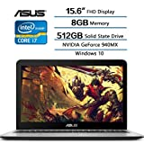 2018 Newest Flagship ASUS VivoBook 15.6 inch Gaming Laptop, 15.6 Full HD (1920 x 1080) Display, Intel Core i7-7500U (up to 3.5GHz), 8GB DDR4 RAM, 512GB SSD, NVIDIA GeForce 940MX, Windows 10
