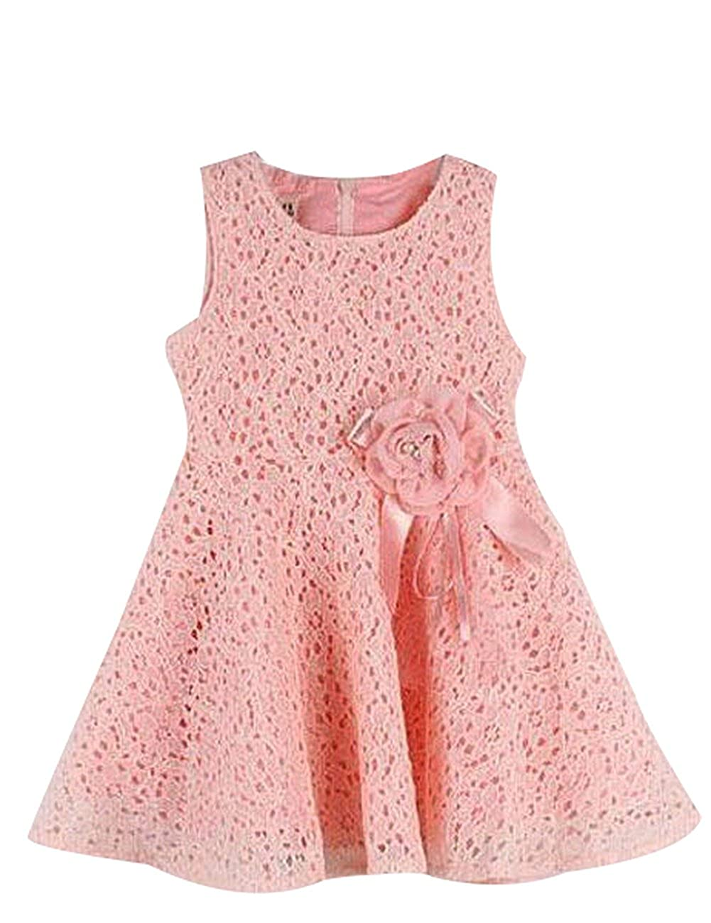 Kids Toddlers Girls Princess Party Flower Solid Lace Formal Dress