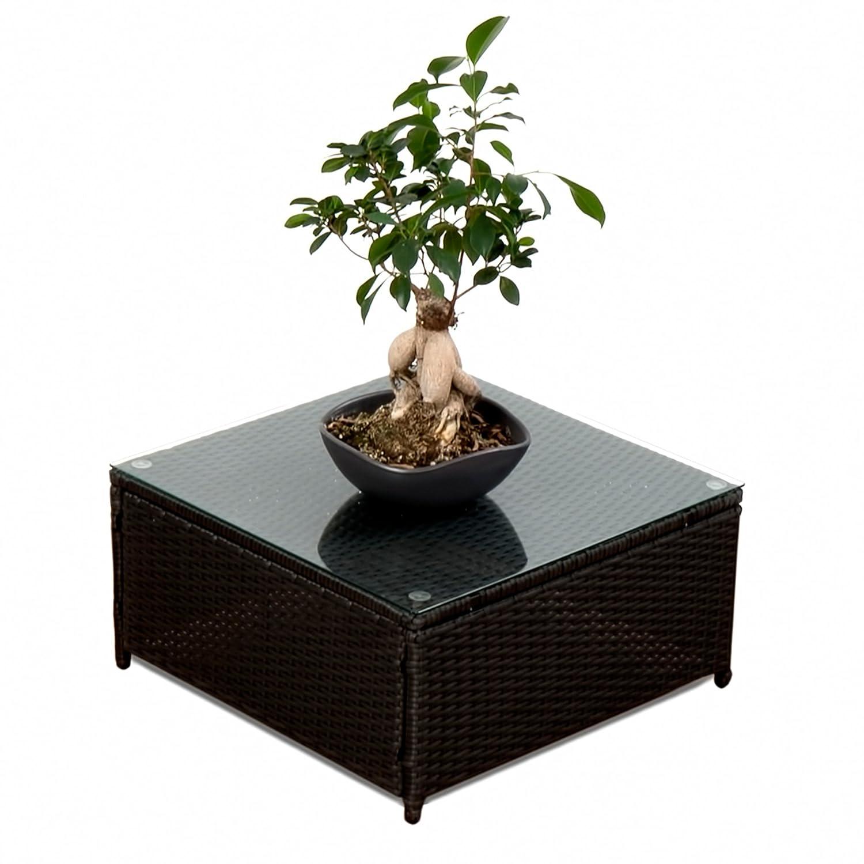Polyrattan Lounge Möbel Tisch schwarz - Gartenmöbel Polyrattan Lounge Tisch mit Glasplatte - durch andere Polyrattan Lounge Gartenmöbel Elemente erweiterbar