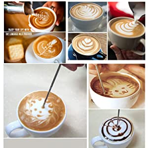 Aicai Milk Frother Coffee Art Set, 8pcs Stainless Steel Scale Cup + Whisk + Pattern Needle with Powder Coco Shaker + Stencils for Coffee, Latte, Cappuccino, Hot Chocolate (Color: 8pcs-Stainless Steel)