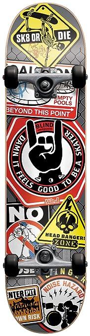 Blind Skateboard Complet 7,5 Warning Signs Grey Black