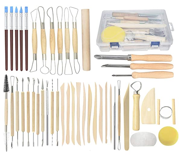 Pottery Tools, 44PCS Ceramic Clay Sculpting Tools Set with Plastic Case, for Beginners and Professional Art Crafts, by Augernis (Tamaño: 44PCS with Case)